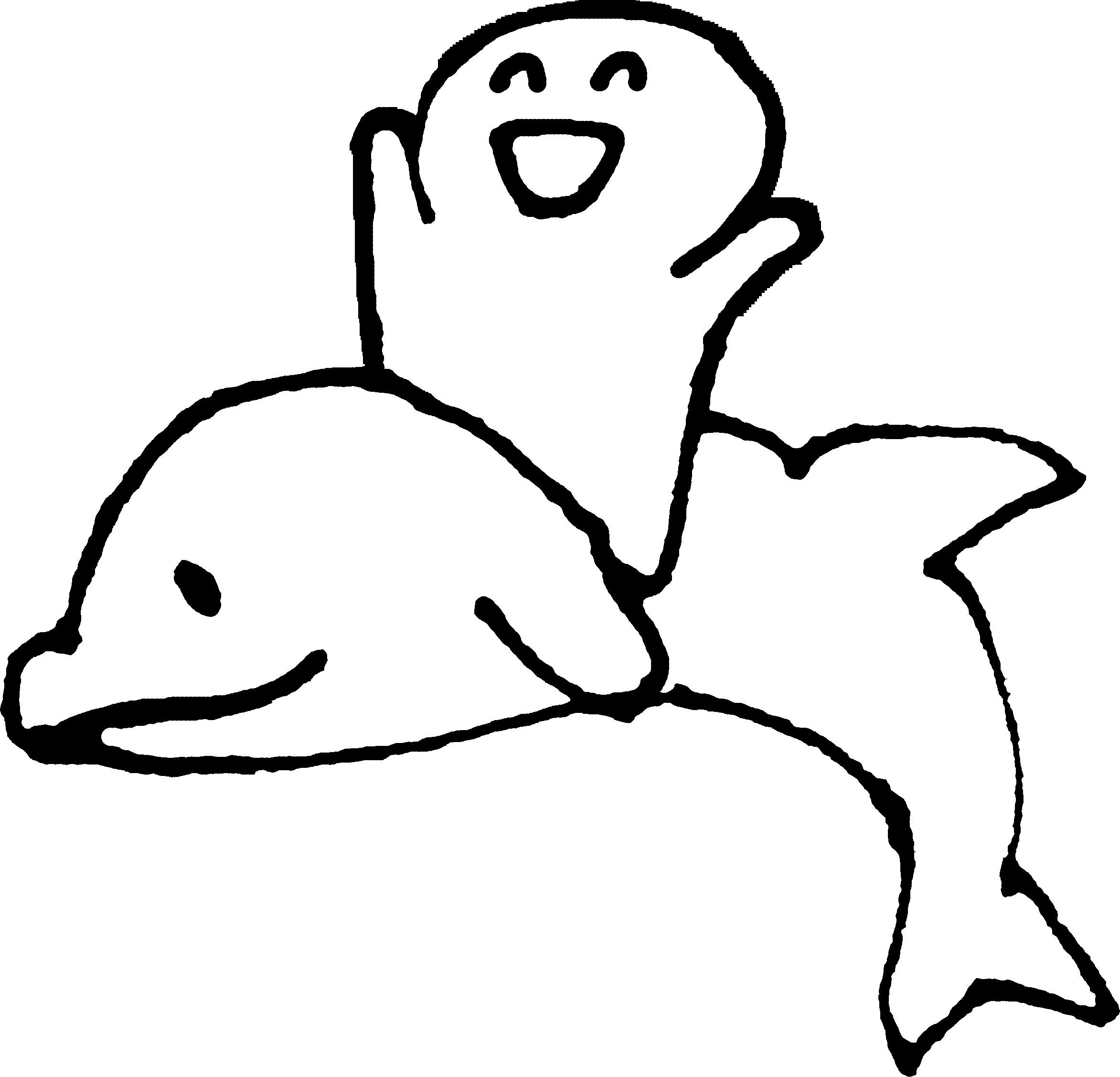 イルカに乗るイラスト Ride a dolphin